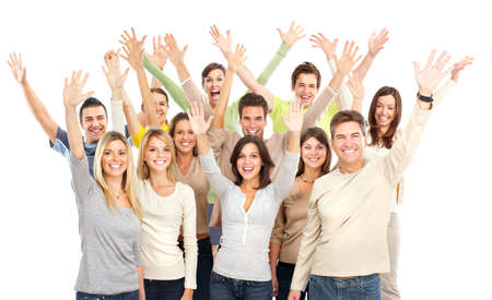 Gelukkige grappige mensen. Geïsoleerd op witte achtergrond  Stockfoto