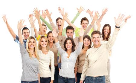 grote groep mensen: Gelukkige grappige mensen. Geïsoleerd op witte achtergrond  Stockfoto