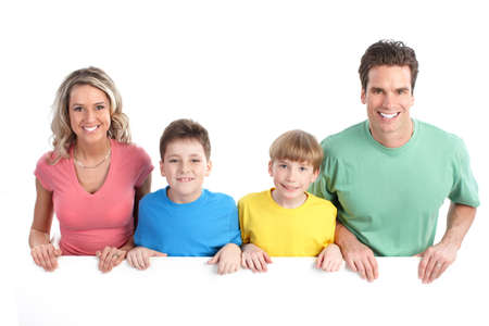 Happy family. Father, mother and children. Over white background Stock Photo - 7635171
