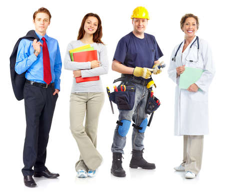 Businessman, builder, nurse, architect. Isolated over white background photo