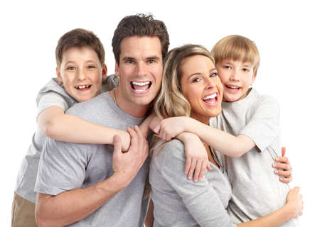 Happy family. Father, mother and children. Over white background Stock Photo - 7635199