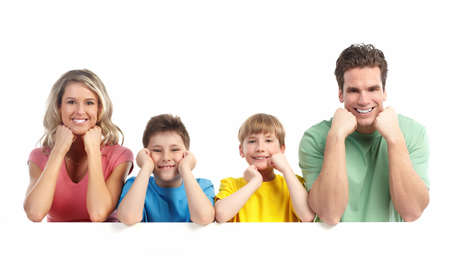 Happy family. Father, mother and children. Over white background Stock Photo - 7635132