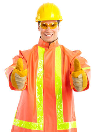 factory: Young handsome worker. Isolated over white background