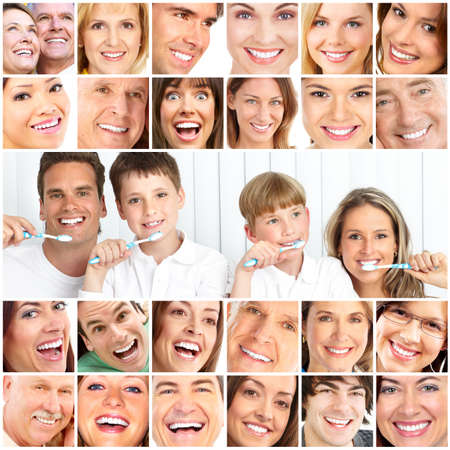 dentistry: Happy family. Father, mother and children with toothbrushes.   Stock Photo