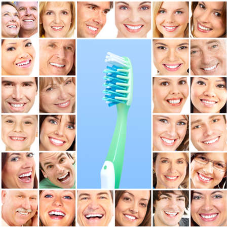 Smiling  young people with healthy white teeth Stock Photo - 7635208