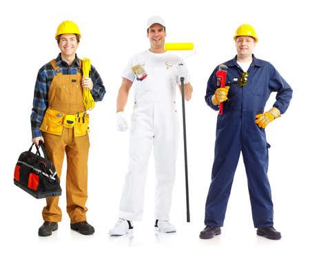 home decorating: Smiling builder people. Isolated over white background  Stock Photo