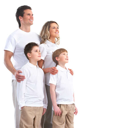 Happy family. Father, mother and children. Over white background Stock Photo - 7635173