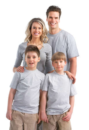 Happy family. Father, mother and children. Over white background Stock Photo - 7635174
