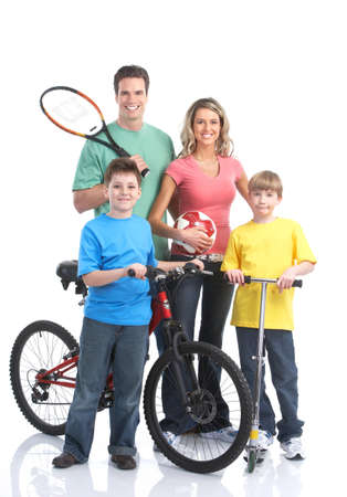 velo: Happy sportive family. Father, mother and children. . Over white background
