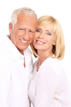 Happy seniors couple in love. Healthy teeth. Isolated over white background  Zdjęcie Seryjne