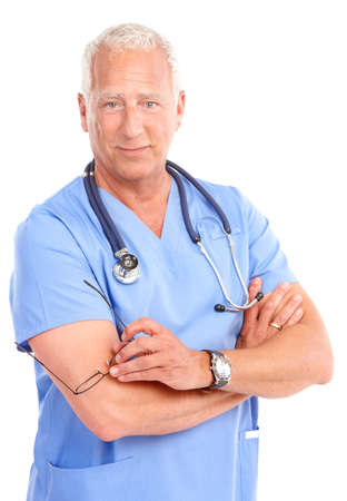 Smiling medical doctor with stethoscope. Isolated over white background Stock Photo - 7702755
