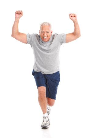 체육관 및 휘트니스. 밖으로 작동하는 노인 웃 고. 흰색 배경 위에 절연 스톡 콘텐츠