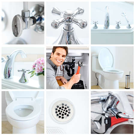 sink: Young plumber fixing a sink   Stock Photo