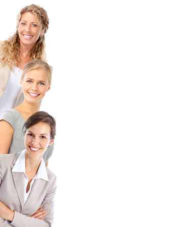 woman in white: Young smiling  business women. Isolated over white background  Stock Photo