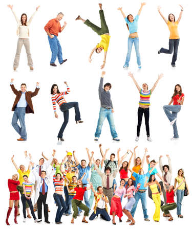 Happy funny people. Isolated over white background Stock fotó - 7723750