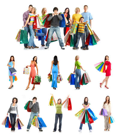 happy shopping: Happy shopping people. Isolated over white background  Stock Photo