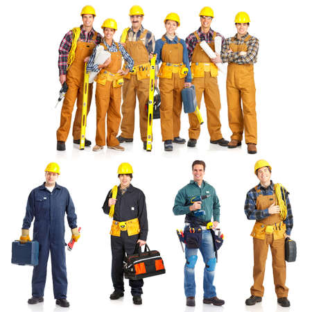 Industrial workers people. Isolated over white background Foto de archivo