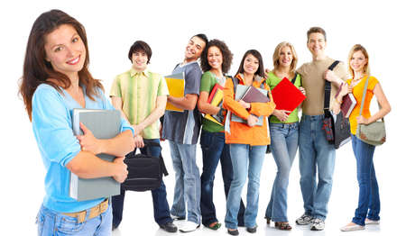 study group: Large group of smiling  students. Isolated over white background