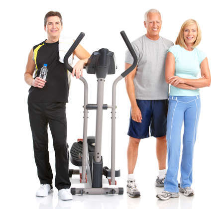 equipment: Gym & Fitness. Smiling people . Isolated over white background  Stock Photo
