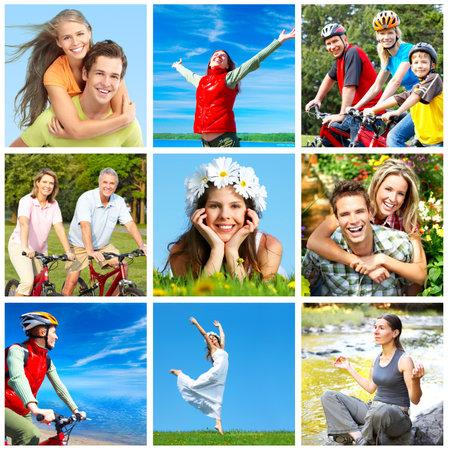 Gelukkige mensen in park  Stockfoto