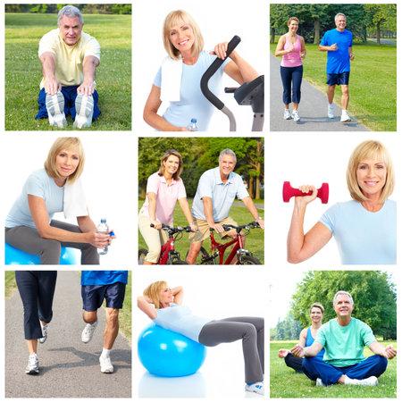 Happy elderly seniors doing fitness in park  photo
