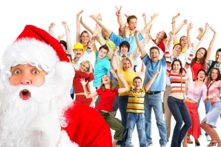 Happy People and Santa. Over white background