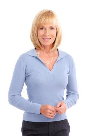 mujeres maduras: Mujer feliz sonriente. Aislados sobre fondo blanco