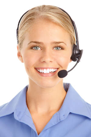 Beautiful  call center operator with headset. Isolated over white background Stock Photo - 7834041