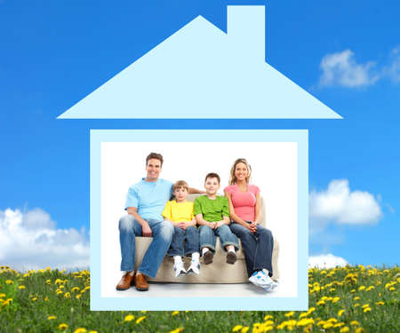 realty: Young family in the new home.  Real estate concept  Stock Photo