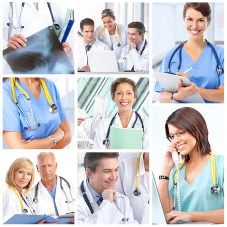 Smiling medical doctors with stethoscope.   photo