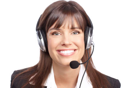 customer support: Beautiful  business woman with headset. Call Center Operator. Over white background