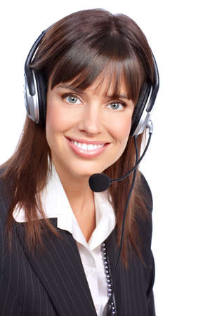customer service representative: Beautiful  business woman with headset. Call Center Operator. Over white background