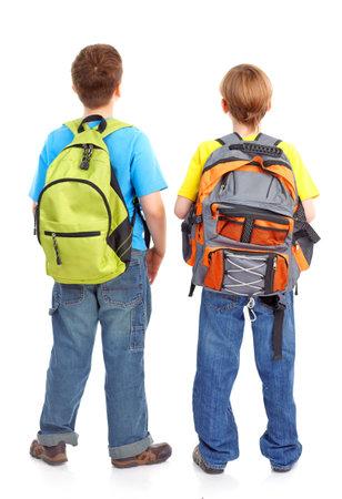 Gelukkig lachend school jongens. Geïsoleerd op witte achtergrond Stockfoto - 7872667