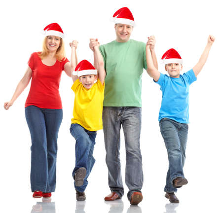 baby kerst: Familie in Kerst mis hoeden. Op witte achtergrond  Stockfoto
