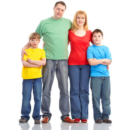 Happy family. Father, mother and children. Over white background Stock Photo - 7872651