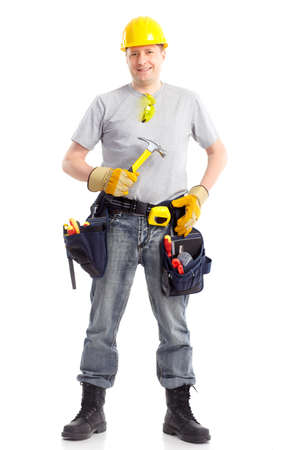 Young handsome builder in yellow uniform. Isolated over white background Stock Photo - 7872663