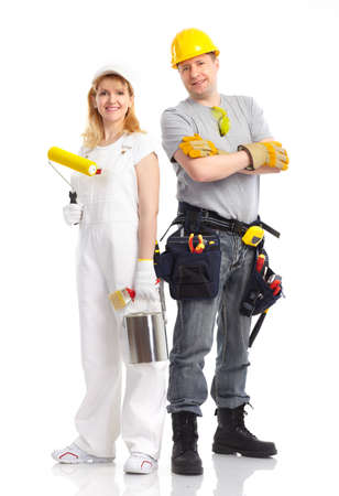 decorating: Smiling builder people. Isolated over white background  Stock Photo