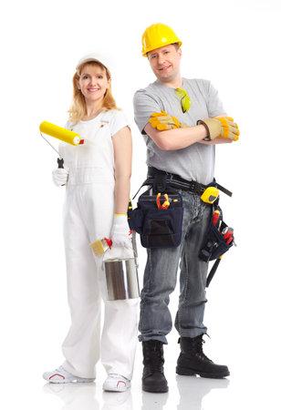 decorando: Sonriente personas de generador. Aislados sobre fondo blanco