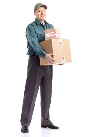 Delivery worker. Handsome worker with a box. Isolated over white background  photo