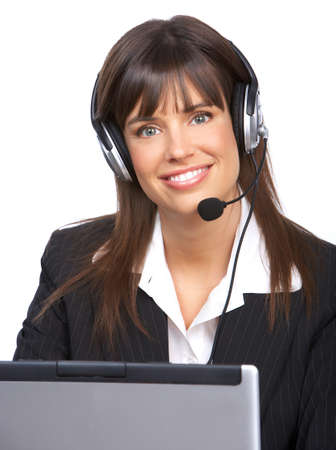 Beautiful  business woman with headset. Call Center Operator. Over white background