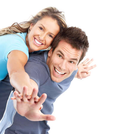 Happy smiling couple in love. Over white background Stock Photo - 7872742