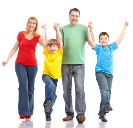 euphoria: Happy family. Father, mother and children. Isolated over white background Stock Photo