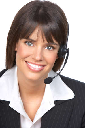 Beautiful  business woman with headset. Call Center Operator. Over white background   photo