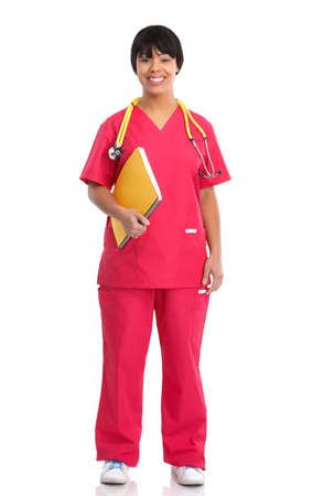 african business: Smiling medical nurse with stethoscope. Isolated over white background  Stock Photo