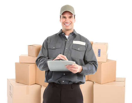 delivery service: Delivery worker. Handsome worker with a box. Isolated over white background