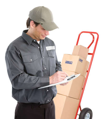 Delivery worker with hand truck. Isolated over white background