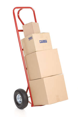 sack truck: Red hand truck . Isolated over white background