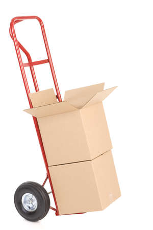 Red hand truck . Isolated over white background Stock Photo - 7955789