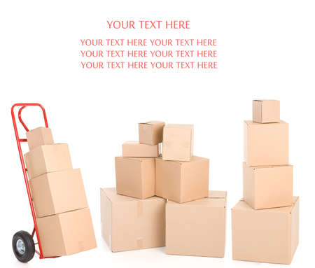 hand truck: Red hand truck with boxes. Isolated over white background
