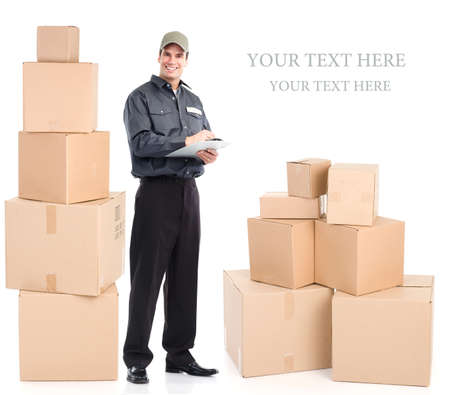 delivery man: Delivery worker with boxes. Isolated over white background  Stock Photo